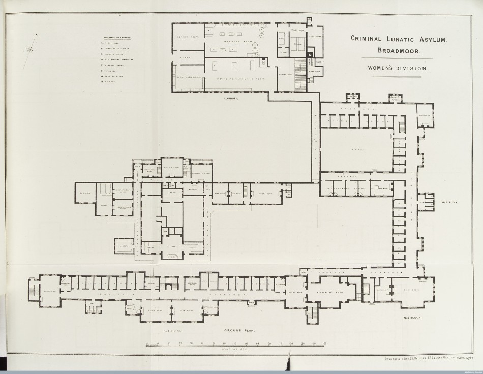 L0038515 Plan of Women's Division blocks at Broadmoor Criminal Asylum