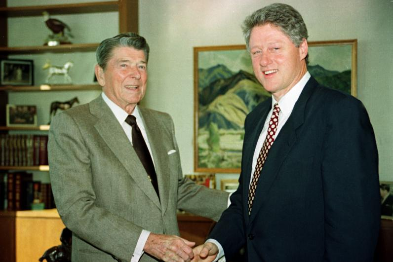 Bill Clinton and Ronald Reagan