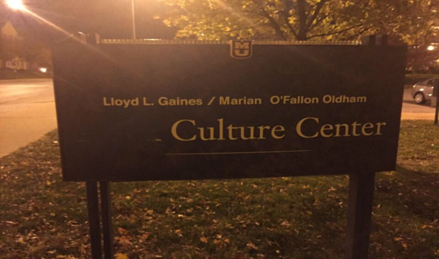 "[Image 3: Black Culture Center with ""black"" scratched out.  Photo credit: The Legion of Black Collegians]"